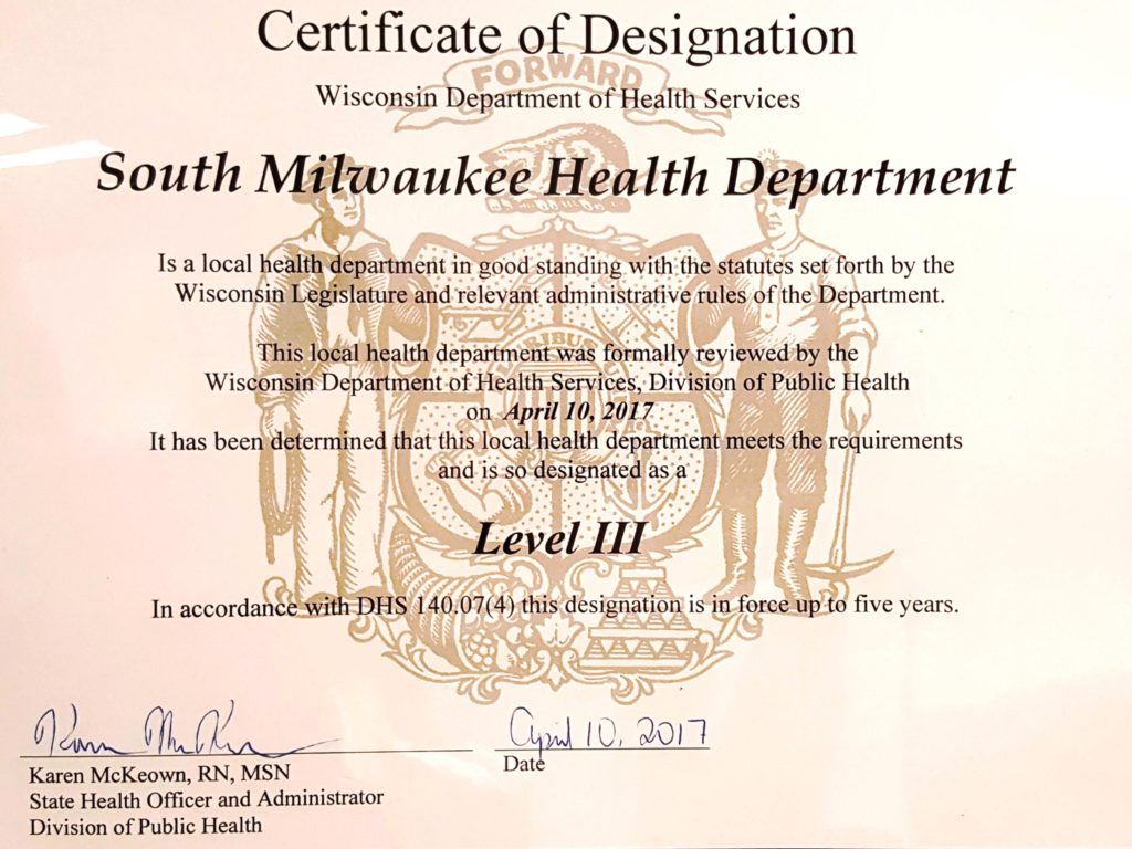 Certificate of Designation for South Milwaukee Health Department